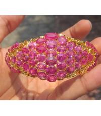 กำไล ทับทิม เจียร สีชมพูสวย ทรงมาคีย์ ฉลุลาย ทอง90 งานเก่า สวยมาก นน. 36.08 g