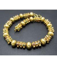 สร้อยข้อมือ ปะวะหล่ำ 3 สี ทับทิม มรกต เพชรซีก ทอง90 ทองเก่า งานโบราณ นน. 15.96 g