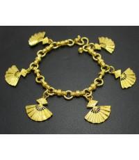 สร้อยข้อมือ ลายพัด ตุ้งติ้ง ทอง96.5 ทองเก่า งานโบราณ นน. 30.23 g