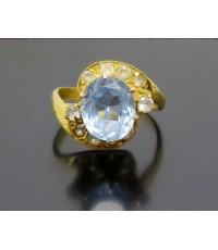 แหวน พลอยฟ้า ฝังพลอยขาว ทอง90 งานดีไซน์สวย นน. 4.10 g