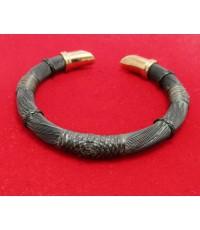 กำไล หางช้าง ตัวC ฝังเพชร 50 เม็ด 0.50 กะรัต นาก40 งานเก่า หลุดจำนำ สวยมาก นน. 29.20 g