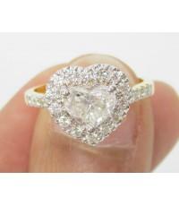 แหวน เพชรหัวใจ  0.80 กะรัต ล้อม 22 เม็ด 0.38 กะรัต ทองคำ  18K งานสวยมาก นน. 4.05 g