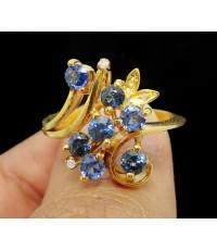 แหวน ไพลิน เจียร 7 เม็ด ฝังเพชรกุหลาบ 4 เม็ด 0.04 กะรัต ทอง9K งานสวย น่ารักมาก นน. 5.59 g
