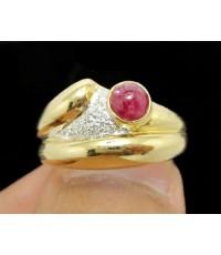 แหวน ทับทิม หลังเบี้ย 1 เม็ด ฝังเพชร 10 เม็ด 0.04 กะรัต ทอง18K งานสวย น่ารักมาก นน. 5.86 g