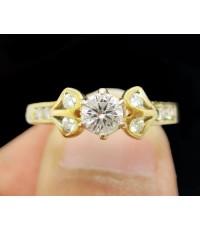 แหวน เพชรเดี่ยวชู 0.28 กะรัต บ่าข้าง 8 เม็ด 0.16 กะรัต ทอง90 งานสวยมาก นน. 3.12 g