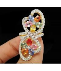 แหวน พลอยหลายสี กระจุก ฝังเพชรไขว้ 65 เม็ด1.25 กะรัต ทอง90 งานสวยมาก นน. 9.84 g