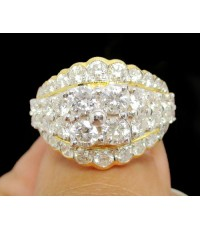 แหวน เพชรกระจุก 4/0.52 ct ฝังเพชร 38/1.65 ct ทอง90 เพชรขาว สวยมาก นน. 7.44 g