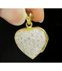 จี้ หัวใจ ฝังเพชร 47 เม็ด 0.70 กะรัต ฉลุลาย ทอง90 เปิดได้ งานสวย น่ารักมาก นน. 7.42 g