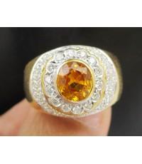 แหวน บุษราคัม เจียร ล้อมเพชร 2 ชั้น 48 เม็ด 0.72 กะรัต ทอง90 งานสวยมาก นน. 9.60 g