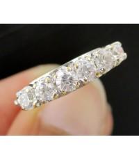 แหวน แถว พลอยขาว 6 เม็ด ฉลุลาย ทองK 2 สี งานเก่า หลุดจำนำ นน. 3.70 g
