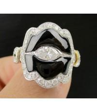 แหวน เพชรมาคีย์ 0.30 กะรัต ล้อมเพชร 38 เม็ด 0.72 กะรัต ทองคำขาว18K งานสวยมาก นน. 5.92 g