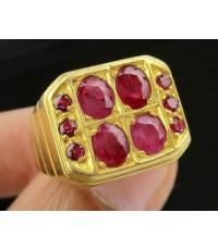 แหวน ผู้ชาย ทับทิม ทรงสี่เหลี่ยม ทอง90 งานเก่า หลุดจำนำ นน. 10.59 g