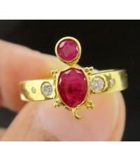 แหวน ทับทิม เจียร รูปเต่า ฝังเพชร 4 เม็ด 0.07 กะรัต ทอง90 งานสวย น่ารักมาก นน. 2.92 g