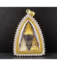 พระพุทธชินราช 3 องค์ ทองคำ เงิน 3 กษัตริย์ ล้อมเพชร 48 เม็ด 3.60 กะรัต นน. 25.52 g