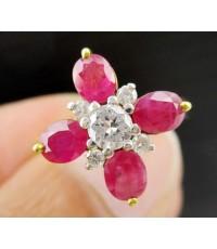 แหวน ทับทิมพม่า ฝังเพชร  5 เม็ด 0.31  ct ทอง 90 งานสวยมาก นน. 4.32 g
