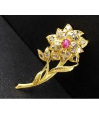 เข็มกลัด ดอกไม้ ทับทิม หลังเบี้ยล้อมเพชรซีก ทอง90 งานเก่า หลุดจำนำ สวยมาก นน. 6.37 g