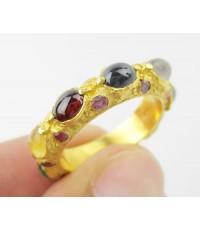 แหวน พิรอด นพเก้า ฝังทับทิม รอบวง ทอง90 งานโบราณ สวยมาก Size 57 นน. 7.36 g