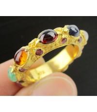 แหวน พิรอด นพเก้า ฝังทับทิม รอบวง ทอง90 งานโบราณ สวยมาก Size 56 นน. 7.51 g