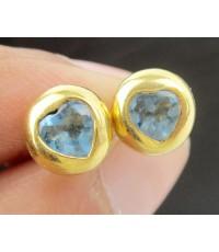 ต่างหู บลูโทพาส เจียร รูปหัวใจ ทอง18K งานสวย น่ารักมาก นน. 2.86 g