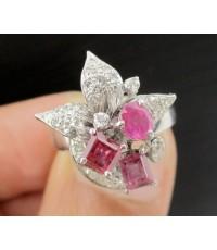 แหวน ทับทิม เจียร Princess กระจุกดอกไม้ ฝังเพชรกุหลาบ 32 เม็ด 0.32 กะรัต ทอง18K ดีไซน์สวย นน. 4.12 g