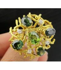 แหวน เขียวส่อง ไพลิน ทรงพุ่ม ฝังเพชรกุหลาบ 4 เม็ด 0.12 กะรัต ทอง18K งานสวย น่ารักมาก นน. 7.30 g