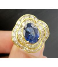 แหวน ไพลินซีลอน  1.80 กะรัต ล้อมเพชร 2 ชั้น 36 เม็ด 1.14 กะรัต ทอง18K งานสวยมาก นน. 4.65 g