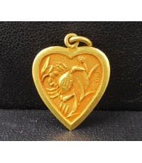 จี้ หัวใจ ปู เป็ดแมนดารินคู่ ทอง100 ทองเก่า งานโบราณ สวยมาก นน. 1.87 g