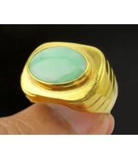 แหวน หยก ทรงไข่ หลังเบี้ย ทอง90 งานเก่า หลุดจำนำ สวยมาก นน. 7.61 g