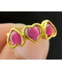 แหวน ทับทิม เจียร รูปหัวใจ 3 ดวง ทอง90 งานสวย น่ารักมาก นน. 2.91 g