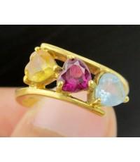 แหวน พลอย 3 สี ทรงหัวใจ 3 เม็ด ทอง18K งานสวย น่ารักมาก นน. 4.44 g