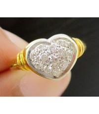 แหวน เพชรเกสร กระจุกหัวใจ 13 เม็ด 0.20 กะรัต ทอง18K งานสวย น่ารักมาก นน. 3.20 g