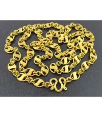 สร้อยคอ ทอง100 ลายห่วงทอง คั่นตัว S รอบเส้น งานเก่า ทองโบราณ นน. 45.50 g