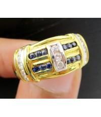 แหวน ไพลิน เจียร ฝังเพชรแถว 13 เม็ด 0.27 กะรัต ทอง18K งานเก่า หลุดจำนำ สวยมาก นน. 8.18 g