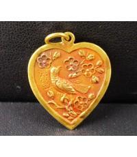 จี้ หัวใจ นก ดอกไม้ ทอง100 ทองเก่า งานโบราณ สวยมาก นน. 3.82 g