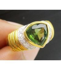 แหวน กรีนทัวร์มารีน ฝังเพชรข้าง 10 เม็ด 0.10 กะรัต ทอง18K งานสวยมาก นน. 6.52 g