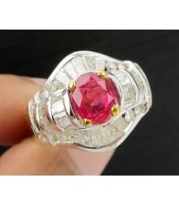 แหวน ทับทิม พม่า เจียร ล้อมเพชร 16/0.20 ct เพชรแทปเปอร์ 26/0.36 ct ทอง18K งานสวยมาก นน. 7.87 g