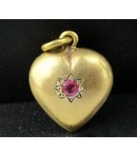 จี้ หัวใจ ฝังทับทิม เจียร ทอง90 งานเก่า หลุดจำนำ สวยมาก นน. 3.83 g