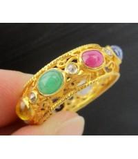 แหวน พิรอด นพเก้า ฉลุลาย ฝังเพชรซีก รอบวง ทอง90 งานโบราณ สวยมาก นน. 4.20 g