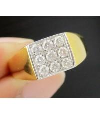 แหวน เพชรชาย 9 เม็ด 0.27  กะรัต ทอง18K งานสวยมาก นน. 3.76 g
