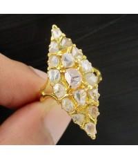 แหวน เพชรซีก ทรงมาคีย์ ทอง90 งานเก่า หลุดจำนำ สวยมาก นน. 3.68 g