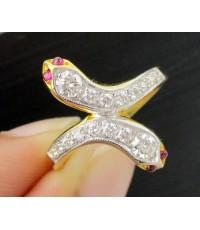 แหวน งู 2 หัวไขว้ ตาทับทิม ฝังเพชรแถว 16 เม็ด 0.36 กะรัต ทอง90งานสวยมาก นน. 5.00 g