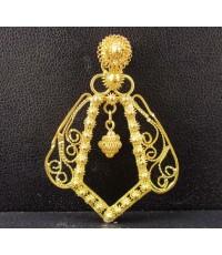 จี้ ฉลุ ดอกพิกุล ตัดลาย ตุ้งติ้ง ทอง90 งานเก่า สวยน่าสะสม นน. 6.95 g