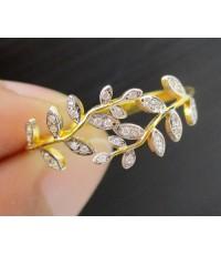 แหวน เพชร ลายช่อมะกอก เพชร 30 เม็ด 0.15 กะรัต ทอง90 งานสวย น่ารักมาก นน. 1.57 g