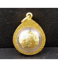 ลูกอม พระเกจิ ปิดทอง เลี่ยมทอง90 นน. 2.75 g