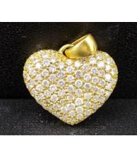 จี้ เพชร หัวใจ ตุ้งติ้ง เพชร 98 เม็ด 1.10 กะรัต ทอง14K งานสวย น่ารักมาก นน. 5.50 g