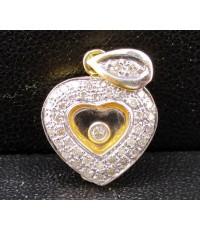 จี้ เพชรกลิ้ง รูปหัวใจ เพชร 44 เม็ด 0.23 กะรัต ทอง18K งานสวย น่ารักมาก นน. 3.90 g