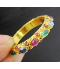แหวน พิรอด 3 สี ทับทิม ไพลิน มรกต ฝังทับทิม รอบวง ทอง90 งานโบราณ สวยมาก Size 53 นน. 3.94 g