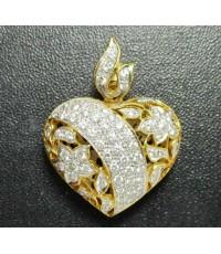 จี้ หัวใจ ฉลุลาย ฝังเพชร 71 เม็ด 0.90 กะรัต ทอง90 งานสวยมาก นน. 7.80 g
