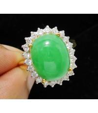 แหวน หยก หลังเบี้ย ล้อมเพชร 22 เม็ด 0.44 กะรัต ทอง90 งานสวยมาก นน. 7.43 g