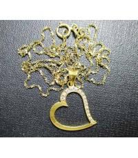 สร้อยคอ ทองอิตาลี18K + จี้ หัวใจ ฝังเพชร 15 เม็ด 0.15 กะรัต งานสวย น่ารักมาก นน. 2.93 g
